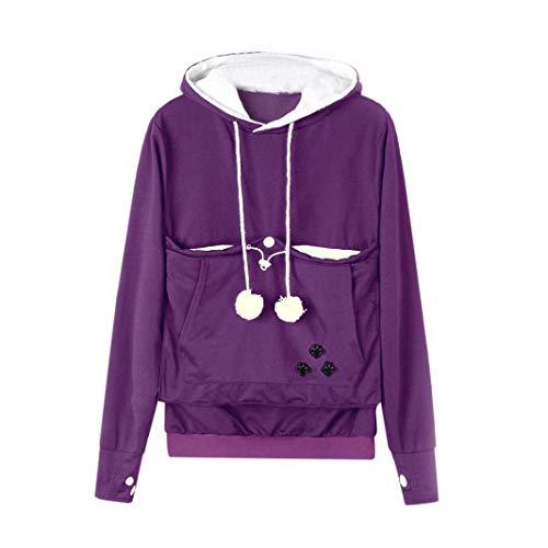 TianWlio Damen Hoodie Damen Schwarz Kapuzenpullover Sweatshirt Kangaroo Carrier für Kleine Katze Hunde Schwarz Grau Große Tasche Hoodie