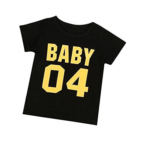 Yogogo Famille des Vêtements Bébé / Enfant / Maman / Papa Été Col rond Impression de Lettres Manche courte Blouse Tops (Taille: 6M, Bébé