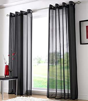 Voile Ring Top Eyelet Curtain Panel Black 90