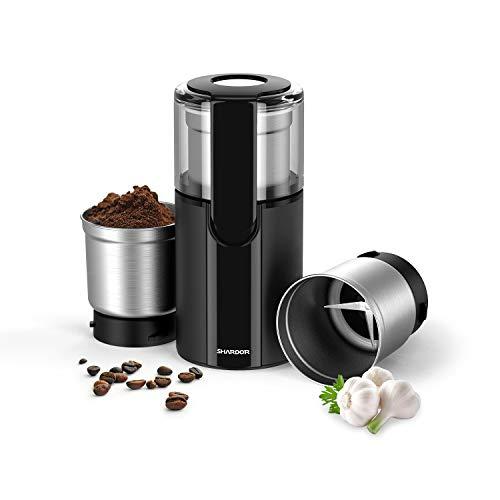 Kaffeemühle, SHARDOR Elektrische Kaffeemühle Fassungsvermögen für Kaffeebohnen Nüsse Gewürze Getreide Kräuter Mühle mit 2 abnehmbare Edelstahlbehälter