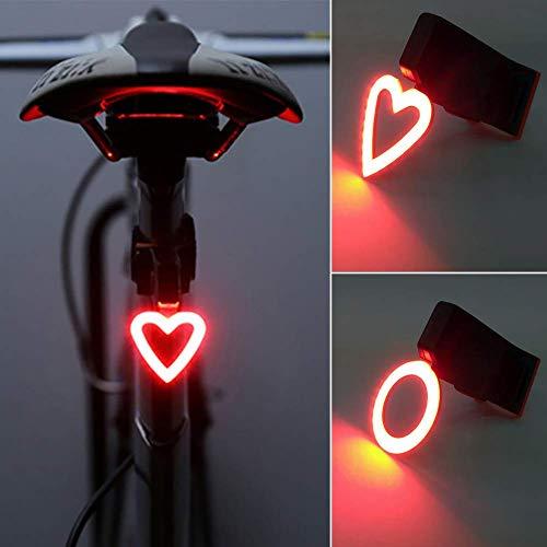 ShenYo Ultra luminoso luce per bicicletta, IP63impermeabile COB LED sella della bici fanale posteriore avvertimento di sicurezza a forma di cuore, Come da immagine, heart shape