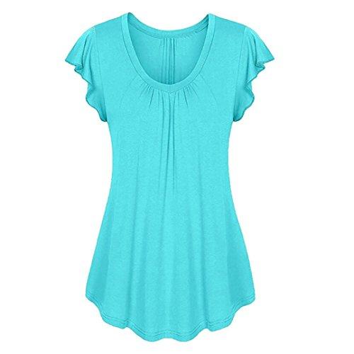 Yvelands Damen Rundhals Geripptes Sleeve Casual Falten Kurzarm T-Shirt mit Stretch Top - Nachthemd Langarm Thermo