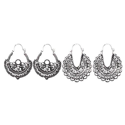 MagiDeal 2 Paar Damen Ohrringe Boho Stil Baumlen - Mode Schmuck Geschenk Antik Silber (Schmuck Antik)