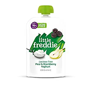 Little Freddie Organic Baby Food - Lactose Free Pear and BlackBerry Yoghurt Pouch (Pack of 6x100g)