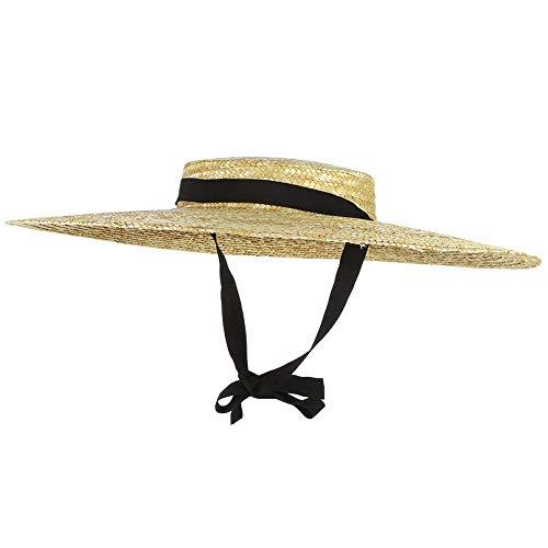 LIWEIL Große Krempe Strohhut Sommerhüte Für Frauen Krempe Schwarzes Band Strandkappe Boater Flat Top Sonnenhut Kinnriemen