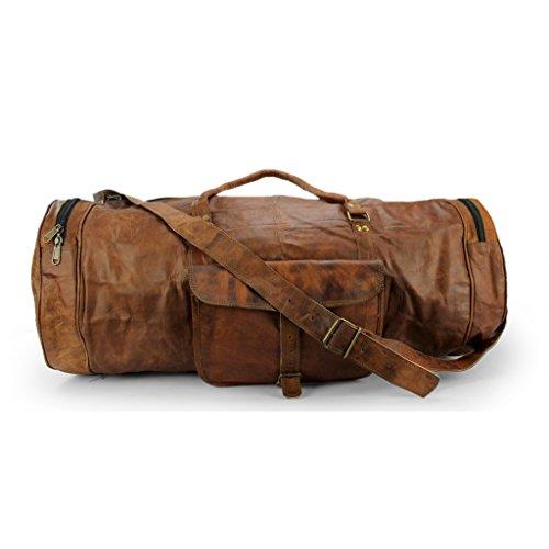 A.P. Donovan - Reise-Tasche rund, für Sport, Herren, als Weekender - Fitness-Freizeit-Fussball-Gym, im vintage Look mit viel Platz - aus Leder