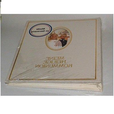 Pagna 12417-02 Kommunionsalbum 210 x 250 mm, Wechselbild, hochwertiger Kunststoffeinband mit Goldprägung und Rahmen, 40 und 4 Seiten für persönliche Eintragungen, deutscher Vorspann, weiß