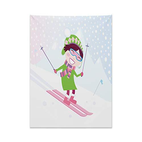 ABAKUHAUS Sport Wandteppich, Skifahren Mädchen Schnee aus Weiches Mikrofaser Stoff Kein Verblassen Klare Farben Waschbar, 110 x 150 cm, Mehrfarbig