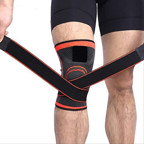 RTGFS 1 stück Professionelle Kniebandage Protector Sport Knieschoner Atmungsaktive Bandage Knieorthese für Basketball Tennis Radfahren Fitness Getriebe XXL Orange