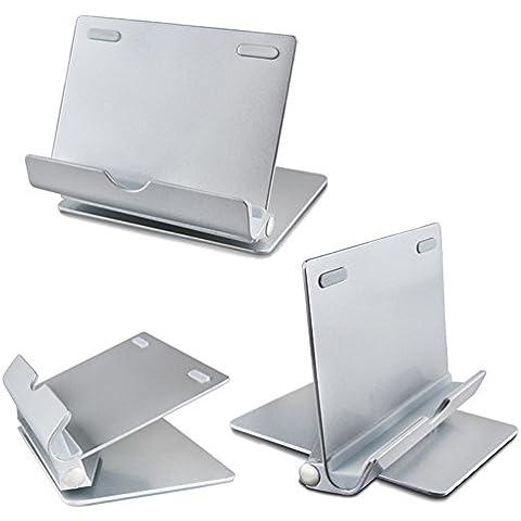 vrlegend universal Soporte de Tableta–Reproductor de soporte Multi Ángulo De Aluminio Desktop Soporte para tablet PC, e-reader, smartphone, iPhone 6Plus, iPad Air 2, Samsung Galaxy Tab, S7/S7Edge, Huawei P8Lite, plata