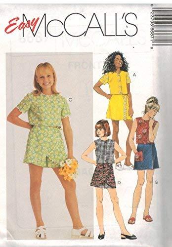McCalls 8687 Schnittmuster für Mädchen, leicht zugeschnittenes Oberteil, Skort, Größe 36/40 -