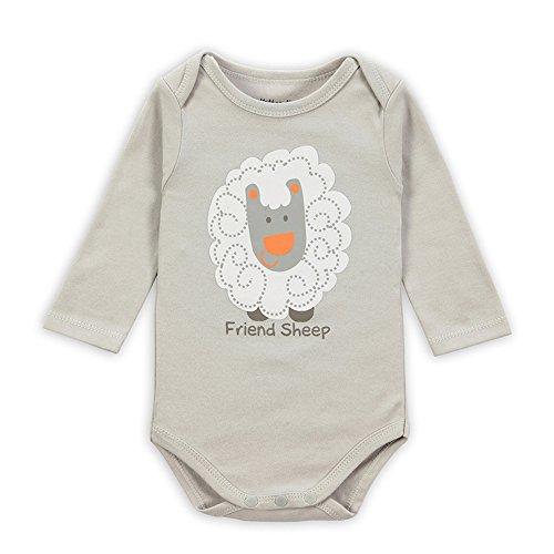 Baby - Langarm-Body aus Bio Baumwolle IHRKleid® Jungen Mädchen Bodysuit (3-6 Monate, Grau)