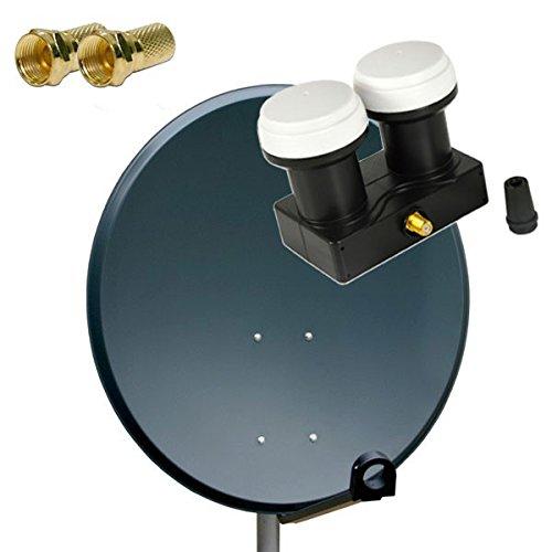 PremiumX Antenne Sat Schüssel Spiegel 80 cm, PXS80 Anthrazit Stahl Digitale Sat Anlage FullHD HDTV PXMB-6S LNB Single Monoblock 0,1 dB + 2X F-Stecker 7mm Vergoldet Gratis Dazu !!!