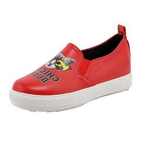 AgooLar Femme Rond à Talon Bas Matière Souple Couleurs Mélangées Tire Chaussures Légeres Rouge