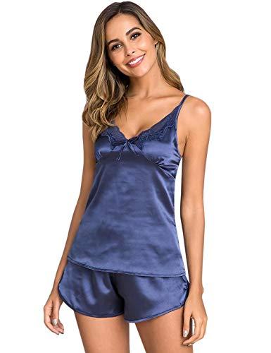 Nachthemd Schlafen (Abollria Schlafanzug Damen Kurz Satin Pyjama Sexy Nachtwäsche Zweiteiliger Nachthemd Spitze Sommer V Ausschnitt Spitze Träger Sling top und Kurz Hosen)