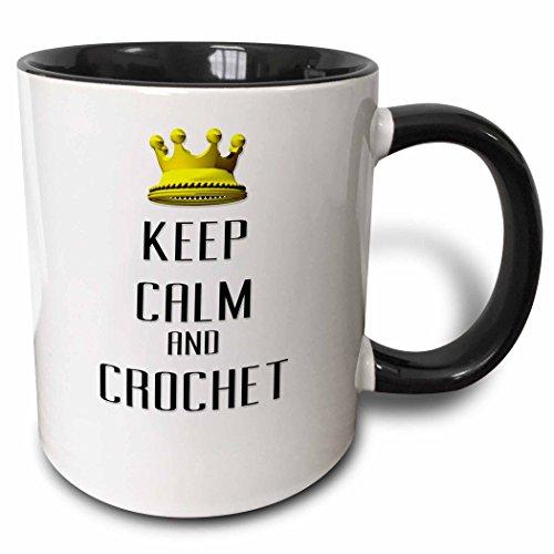 3dRose Gold Crown Keep Calm und Crochet-Two Ton Schwarz 313ml (Tasse 120793_ 4), Keramik, Schwarz/Weiß, 11Oz -