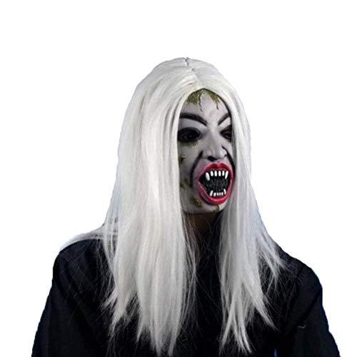 (Cikuso Halloween Lange Peruecke Haarkrank Sadako Ghost Peruecke Fuer Halloween Maskerade Party Cosplay Halloween Kostueme(Weiss))