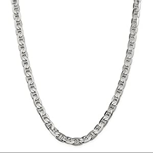 ICE CARATS 925 Sterling Silver 7mm Link Anchor Chain Necklace 22 Inch Beveled Flat