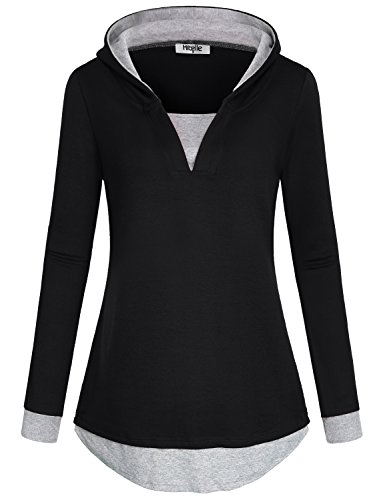 Hibelle Pullover Hoodie Damen, Frauen Frühling Herbst V Ausschnitt Langarm Farbe Block Basic Karriere Knit Loose Fit Kapuzenpullover T-Shirt Pullover Tops Schwarz XL Hoodie Knit Top Pullover