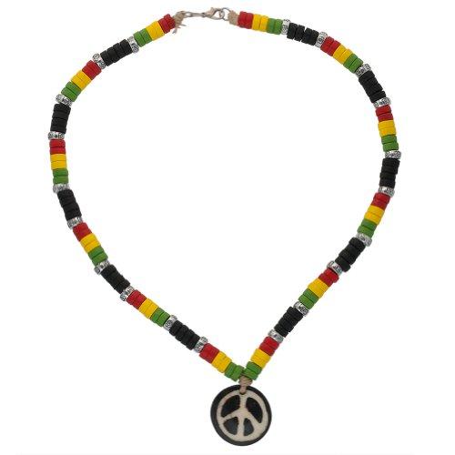 Old Glory Peace Zeichen & Rasta Halskette Perlen aus Holz (Rasta Peace-zeichen)