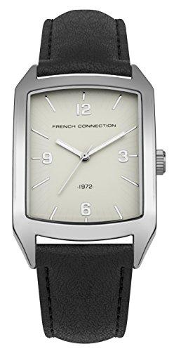 French Connection PU SFC113B - Reloj de cuarzo para hombres con esfera blanca y correa negra de cuero