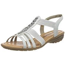 Remonte Women's R3660 T-Bar Sandals, White (Ice/Silber 90), 4 UK