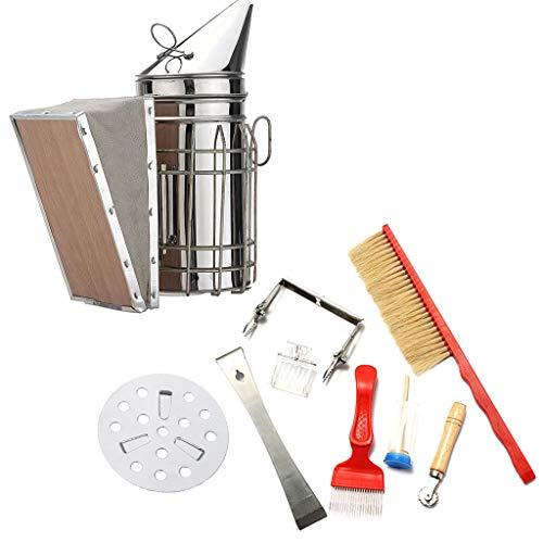 Ninbo Bienenzucht liefert 8 Stücke Rauch Sprayer Bee Pinsel Nadel Schneidmesser Ente Bill Feeder Nest Rahmen Clamping Scraper Set Werkzeug (8 stücke) -