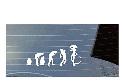 Evolution of Man Alien Auto Fenster Aufkleber–weiß (Pfote Drucken Haustier-schüssel)