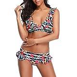 HUIHUI Badeanzug Damen 2019 Bikini high Waist Tankinis Push up bademode große größen Pushup Monokini weißSwimsuit (Schwarz 2,M)