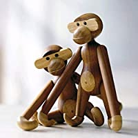 Wooden Monkey Figurine, Sapele Desk Monkey Action Figure Design Animals Doll Christmas Decorations Ornaments for Home Decor for The Home,Boutique Wood Monkey Gift,Solid Wood Craft