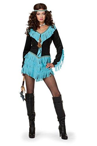 The Fantasy Tailors Indianer-Kostüm Damen Indianer-Kleid mit Fransen Schwarz kurz Adler Falke Apache Karneval Fasching Hochwertige Verkleidung Größe 36 Schwarz/Türkis