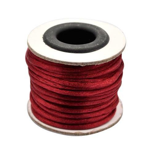 PandaHall Makramee rattail chinesischer Knoten machen Kabel runden Nylon geflochten Schnur Themen, dunkelrot, 2 mm, etwa 10 m / Rolle (Rattail Schnur)