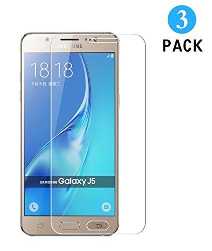 WEOFUN Samsung Galaxy J5 2015 Panzerglas Schutzfolie,3 Stück Displayschutzfolie Panzerfolie für Samsung Galaxy J5 2015 Schutzglas Folie [0.33mm, 9H, - Wwf-test