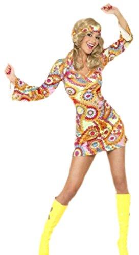Karnevalsbud - Damen Hippie Kostüm Flowerpower, S, Mehrfarbig