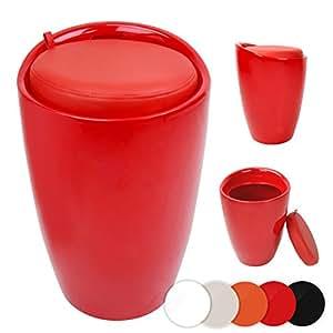 Miadomodo sgabello contenitore di plastica con sedile imbottito bagno colore rosso - Sgabello contenitore bagno ...