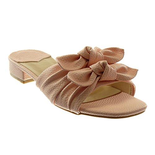 Angkorly Scarpe Moda Sandali Mules Slip-On Donna Nodo a Grana Tacco a Blocco 3 cm Rosa