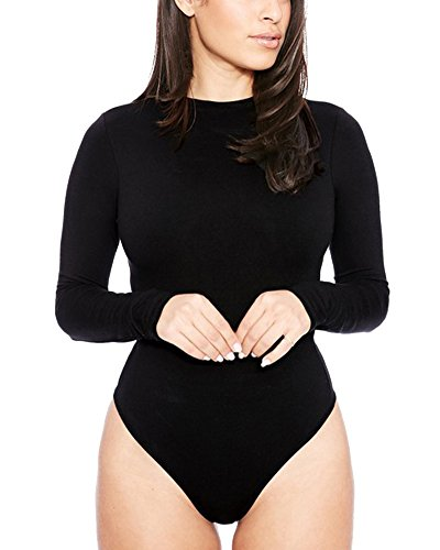 Donna Body Collo Rotondo Maniche Lunghe Basic T-Shirt Felpe Top Nero