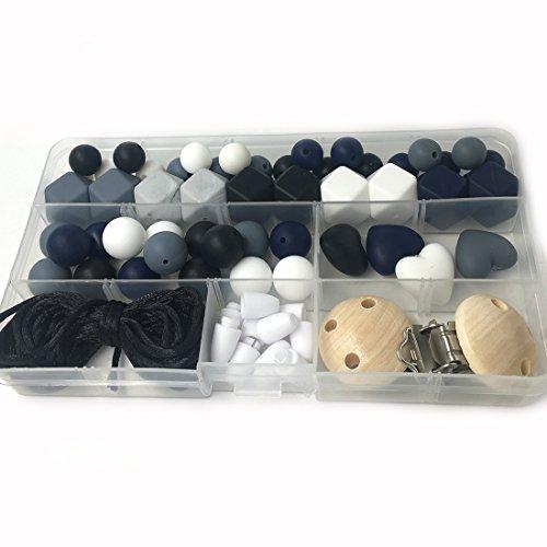 Coskiss DIY Krankenpflege Halskette Kit Gemischte Farbe Geometrie Hexagon Silikon Perlen Herzförmige Silikon Runde Silikon Perlen Hölzerne Häkeln Perlen Schnuller Clip Baby Teether Spielzeug (A125)