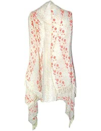 David & Young Women's Daisy Floral Wrap with Lace Inset and Fringe