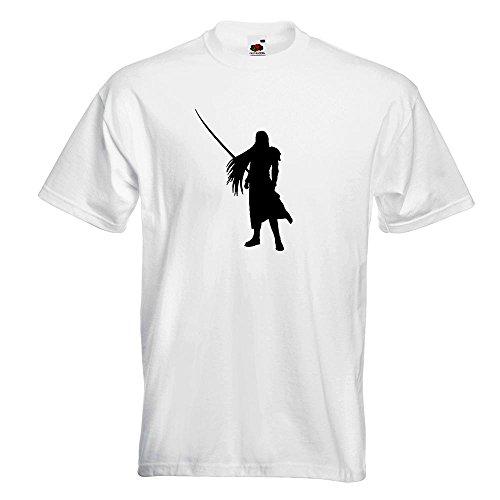 KIWISTAR - Videospielheld mit Schwert T-Shirt in 15 verschiedenen Farben - Herren Funshirt bedruckt Design Sprüche Spruch Motive Oberteil Baumwolle Print Größe S M L XL XXL Weiß