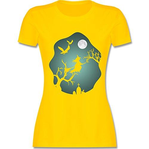 Halloween - Hexe Mond Grusel Grün - L - Gelb - L191 - Damen Tshirt und Frauen T-Shirt (Men's Night Elf Kostüm)