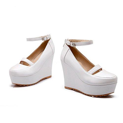 VogueZone009 Femme Rond Boucle Pu Cuir Couleur Unie à Talon Haut Chaussures Légeres Blanc