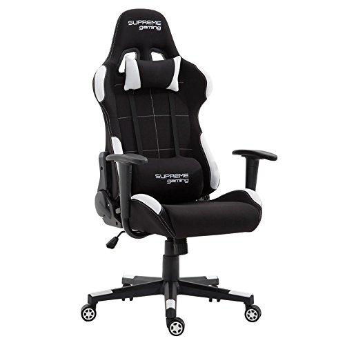 Gaming Drehstuhl SWIFT mit Stoffbezug in schwarz/weiß Racer Bürostuhl Schreibtischstuhl PC Chefsessel