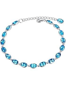 Aoiy Damen-Armband, Sterling Silber, 9.54 Karat Natürlicher Ovaler Schweizer Blau Topas, für Mädchen und Frau,...