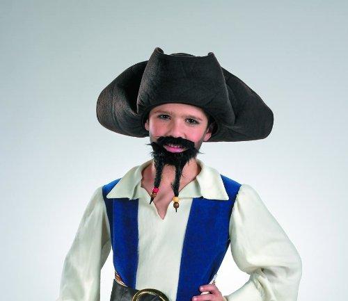Disguise 198248 Pirates of the Caribbean 4 On Stranger Tides-Piraten-Hut mit dem Schnurrbart und Spitzbart-Child