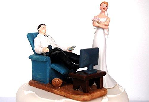 DreamWedding-UK Cake Toppers Novia y Novio Figura/Sentado/de pie/decoración de la Boda/Presente, Resina Artificial, 5x 12x 12cm