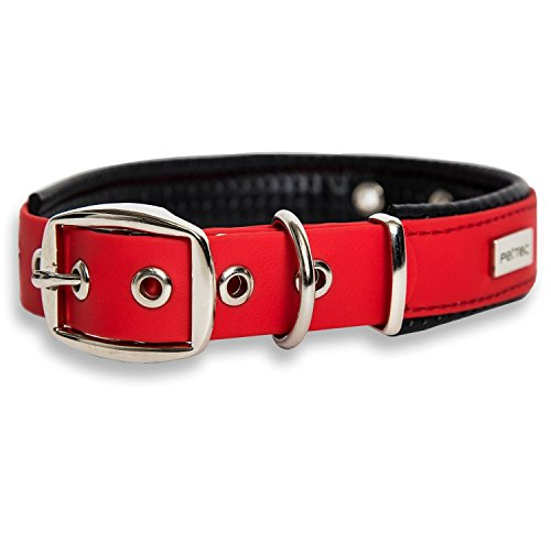 Price comparison product image PetTec dog collar made of Trioflex™ with padding, Red, weatherproof, water resistant, robust