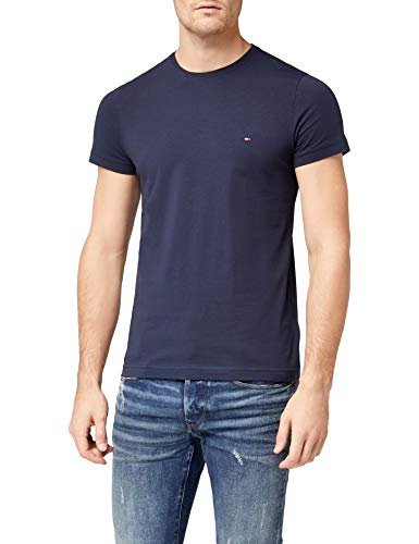 Tommy Hilfiger Herren CORE STRETCH SLIM CNECK TEE T-Shirt, Blau (Navy Blazer 416), Large -