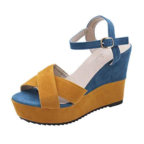 Clacce Damen Plateau Sandaletten Sandalen Schnüren Keil Plattform Wildleder Gucken Zehe Riemchen Mitte Hacke Sommer Kleid Sandalen