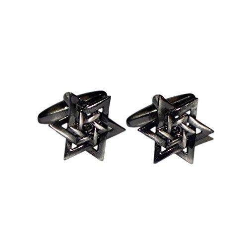 Boutons de manchette de chemise double étoile de David acier noir